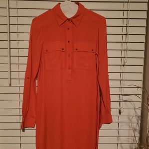 Fun and bright Michael Kors Orange Shirt Dress
